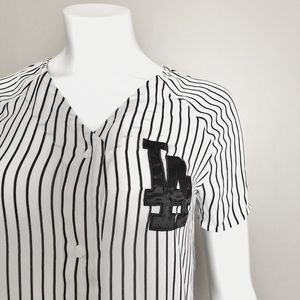 Black and White Striped LA Baseball Top